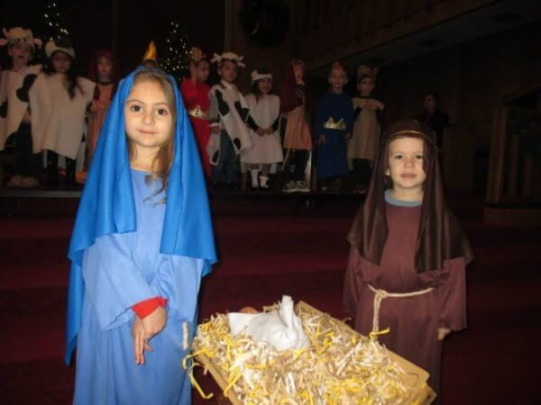 Mary and Jesus at Preschool Christmas program