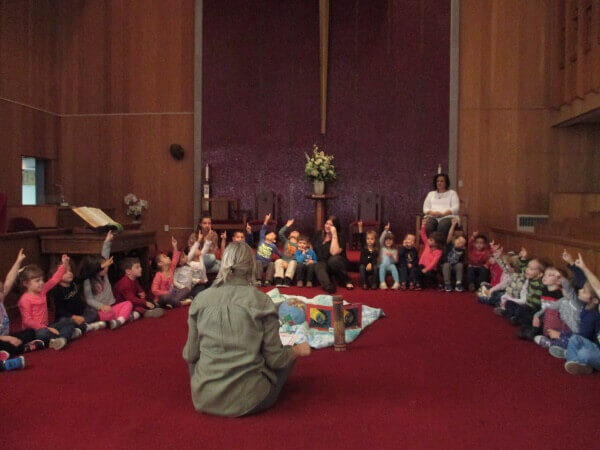 Preschool Devotions session in church santuary