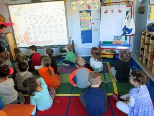 UPK children in class with SmartBoard